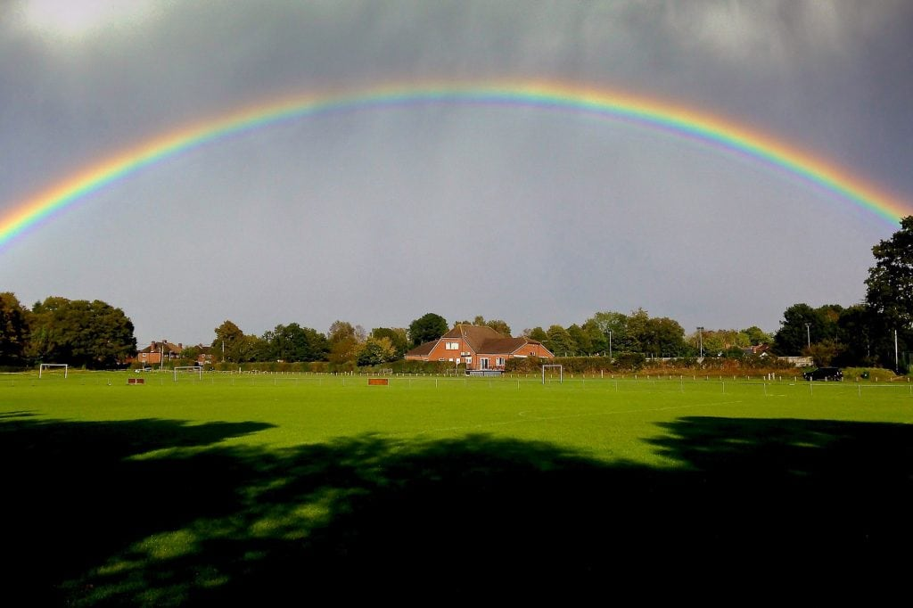 Headley Sports Pavilion with Rainbow by Diana Grant