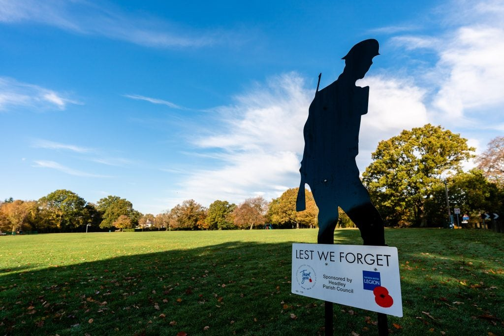 Headley Village Green with Silhouette Solider Sign